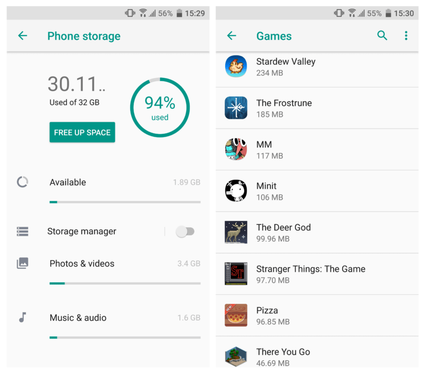 Check Android Internal Storage