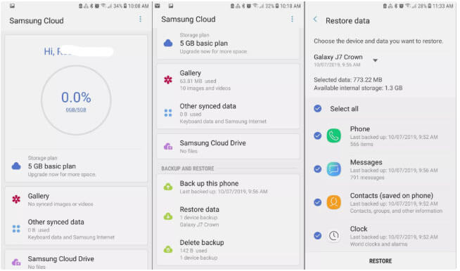 Samsung Cloud - Restore Samsung Galaxy Phone Data