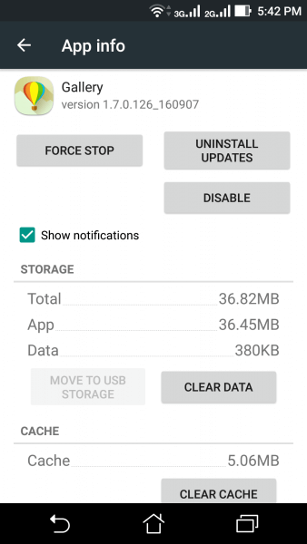 Clear Gallery Cache and Data
