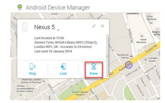 Android Find My Device Erase Feature