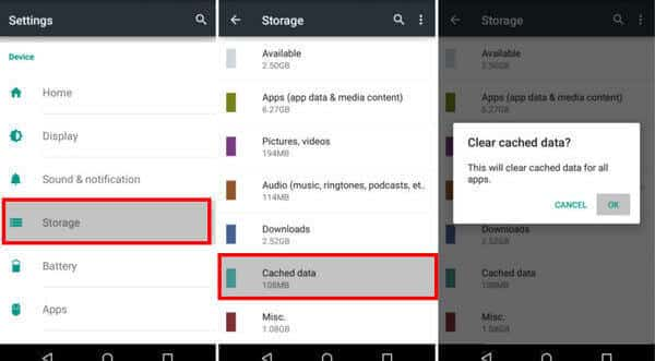Clear Cached Data On Android